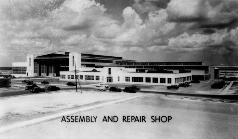 Assembly and repair shop of Naval Air Station Jacksonville during the 1940s.