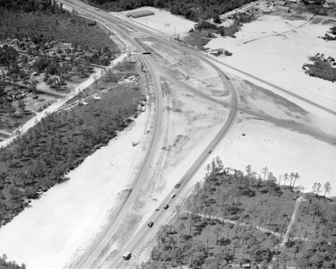 Aerial view looking over intersection of Atlantic Boulevard with Arlington Expressway in 1956.