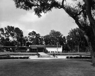 Front view of the Fort Caroline National Memorial Visitor's Center in 1957.
