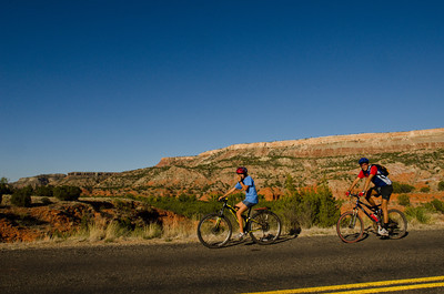 Bikers, man and woman, Palo Duro Canyon, Texas