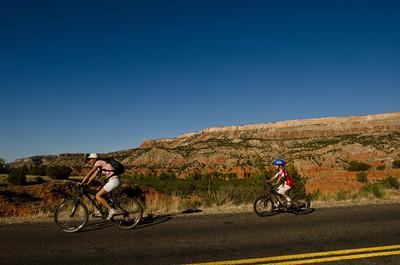 Bikers, man and boy, Palo Duro Canyon, Texas