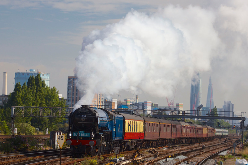 Tornado hauls The Blue Belle towards Clapham Junction station on a historic trip from London Victoria to Sheffield Park in Sussex.