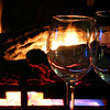 Stone Cliff wine glasses by the fire.