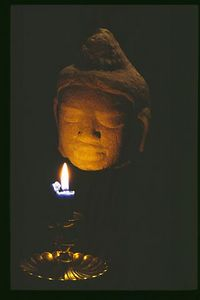 Contemplation - Buddah Head from Cambodia candle light only