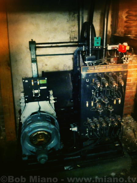 "iPhone photo of Otis Elevator motor and wiring.  ""The best camera is the one you have with you."""