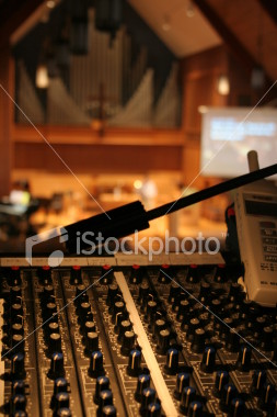 "<a href=""http://www.istockphoto.com/file_closeup/object/2191644.php?id=2191644&refnum=jwilkinson"" target=""istock"">Running sound at a church worship service</a><br>Peaceful view of a church sanctuary and worship service in soft focus behind a view of a sound/audio mixing board (console) and sound level meter.  Projection screen and speaker/preacher in background, with organ pipes and cross showing that it is a church.<br><br>Concepts can include: running sound at church, the technical support behind services, the use of new technology in worship services & churches, etc.<br><br>(vertical view, with sound level meter to the side.  see portfolio for other similar shots)<br><br>See also: <br><a href=http://www.istockphoto.com/file_closeup.php?id=2191493><img border=0 src='http://www.istockphoto.com/file_thumbview_approve.php?size=1&id=2191493'></a> <a href=http://www.istockphoto.com/file_closeup.php?id=3685085><img border=0 src='http://www.istockphoto.com/file_thumbview_approve.php?size=1&id=3685085'></a> <a href=http://www.istockphoto.com/file_closeup.php?id=4551255><img border=0 src='http://www.istockphoto.com/file_thumbview_approve.php?size=1&id=4551255'></a> <br><br>"