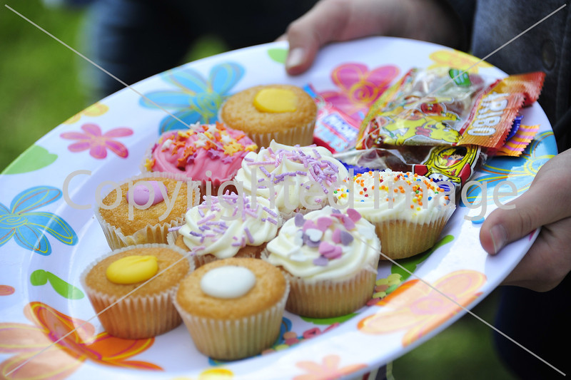 Cupcakes and sweets on a plate