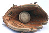 An old baseball and mitt