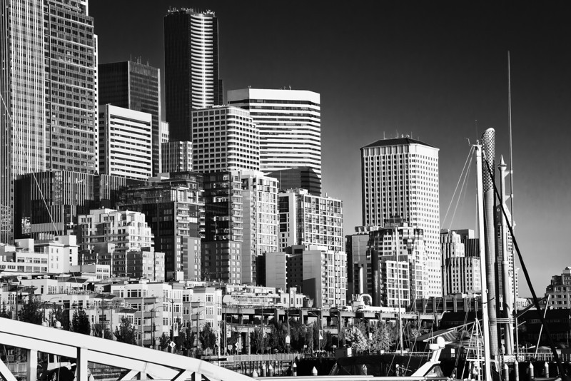City Waterfront, Seattle, WA, Black & White