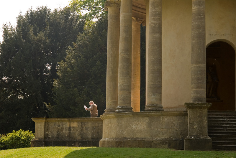 A virtuous (one hopes) ancient emerging from the Temple of Ancient Virtue at Stowe.