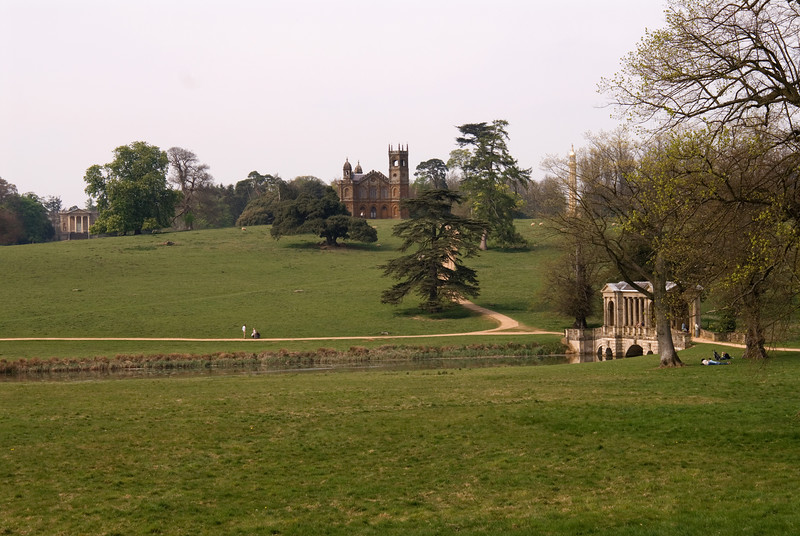 Stowe: view from the Temple of Friendship towards the Gothick Temple, with the Queen's Temple on the left and Lord Cobham's Pillar in the distance.