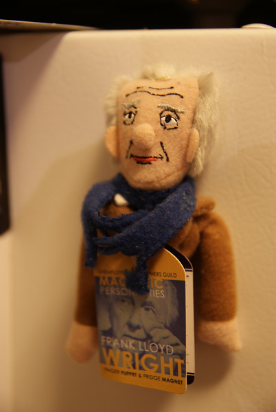 My Frank Lloyd Wright magnetic finger-puppet, a gift from Christian.