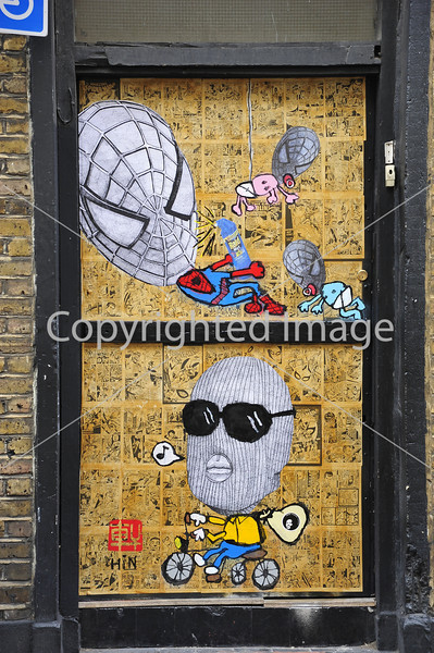 Comic cartoons on a wall