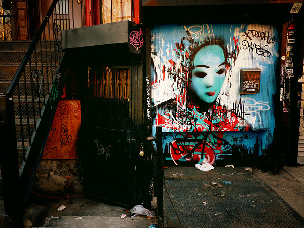 <h2>Every Yesterday - Lower East Side - New York City</h2> - By Vivienne Gucwa  Store gates slumber in the folds of the day when the sun and clouds fall over the city like exhaled breath wrapping the cityscape in sleepy thoughts.  And on these slumbering store gates, dreamscapes unfold surrounded by the discarded remnants of every yesterday and every today.  ---