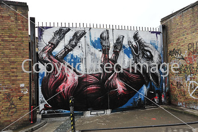 Upturned animal by Roa