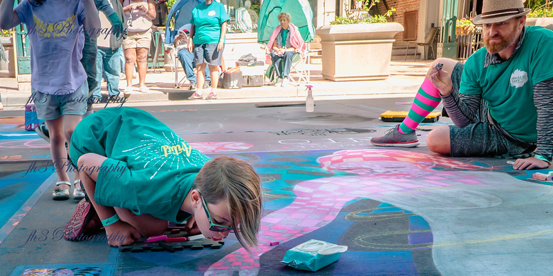 Making some finishing touches at the Denver Chalk Art Festival