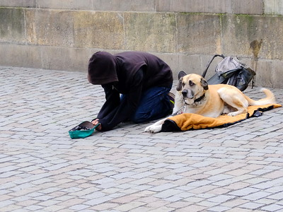 Beggar and his dog on the Charles Bridge