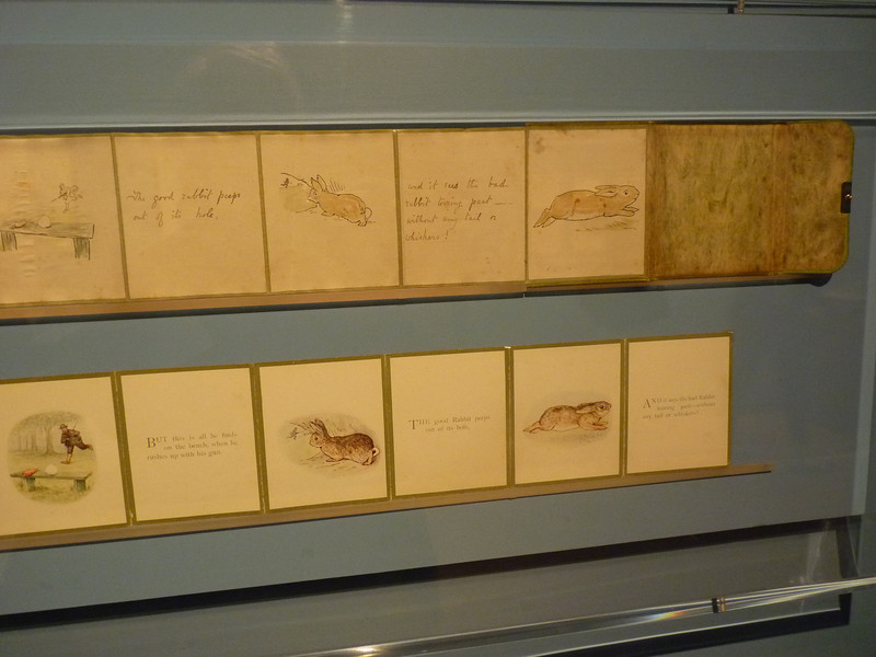 Note the subtle intelligence of making the good rabbit's eye look backwards at the viewer, rather than out forward at the hunter, which gives an entirely different, inclusive atmosphere to the drawing and the moment it pictures.  This kind of connection with the reader is a key part of Potter's genius.