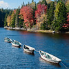 Stretched Dories and Fall Colors, Southwest Harbor, Maine