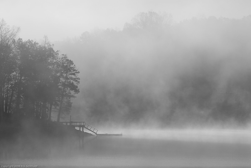 Dock and Dawn Mist at Lake Secession