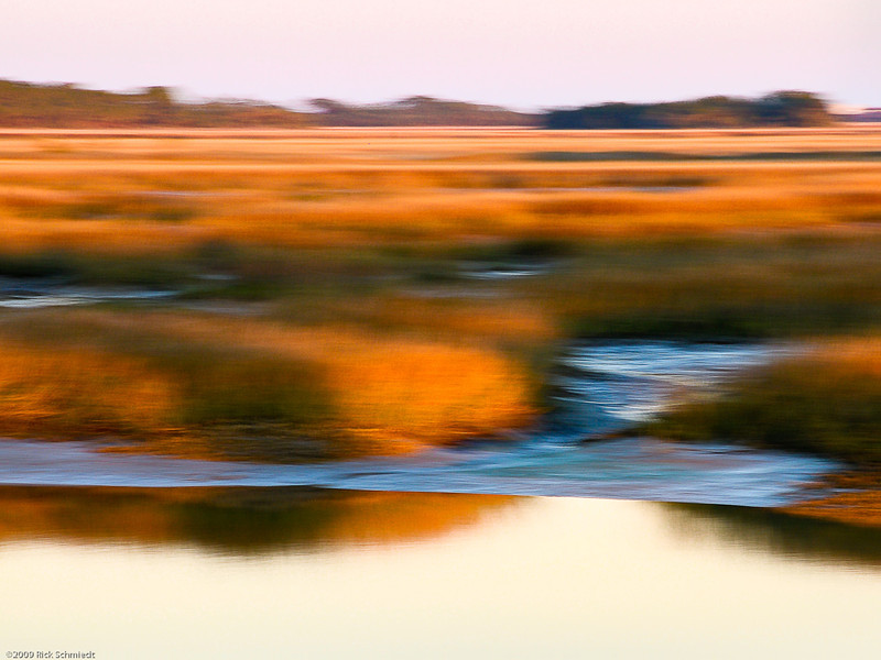 Sunset Folly Marsh Blur