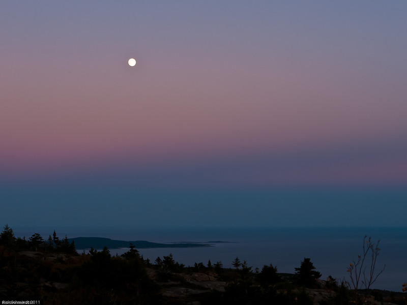 Moonrise at Sunset from Cadillac Mountain, Maine