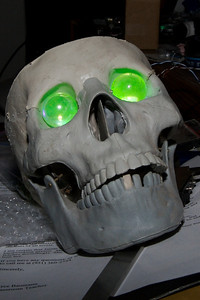 Halloween prop - Uranium Glass marbles backlit by UV leds, the skull is from Anatomical