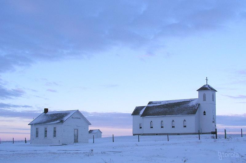 Church at dawn. South Dakota - 2005