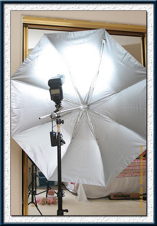 580EX in umbrella with eBay radio trigger attached. It's a fill light, but the main trigger.