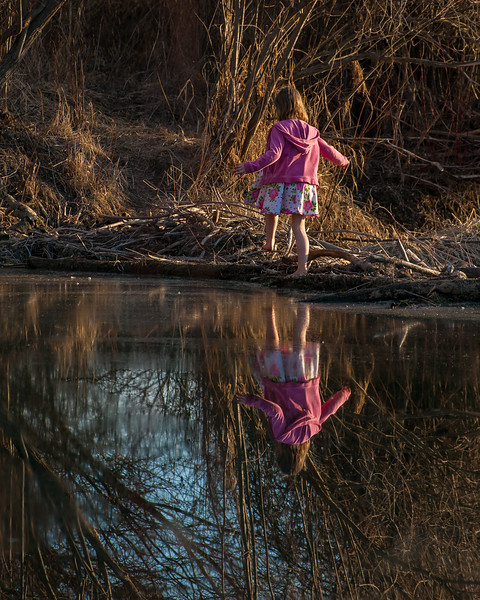 Reflection with Pink Hoodie