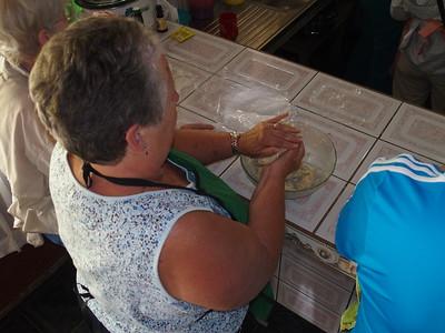 Making empanada dough at Reina's house