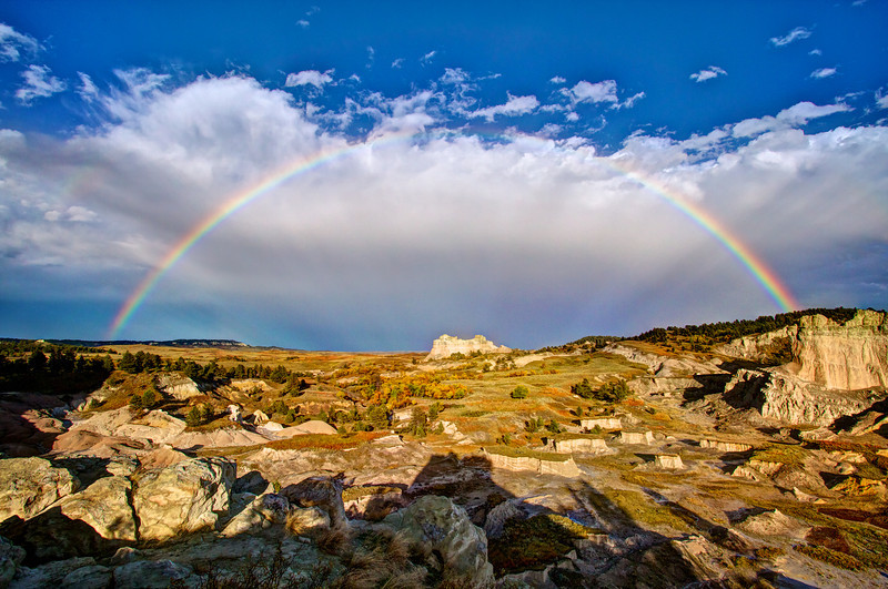 Rainbow over the Castle formations of the Slim Buttes in Harding County, SD.