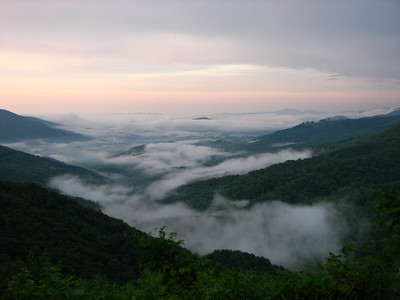 Summer morning mists from McKinney Gap on the Blue Ridge Parkway