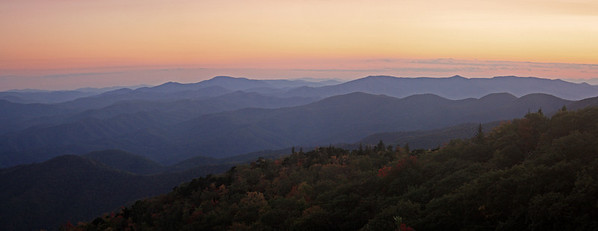 Sunset from the Blue Ridge Parkway on the way to Mount Mitchell