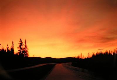 sunrise,930am, nov 23, 1972,  Alaska Hwy, near Eilelson AFB