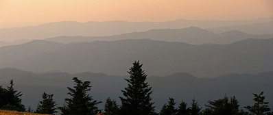 Looking into Tennessee at dusk from the Roan Highlands