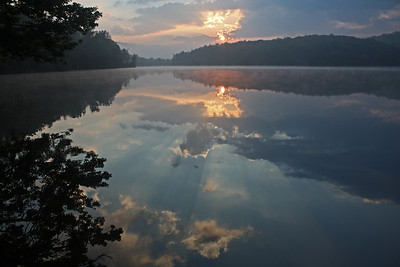 Summer sunrise Price Lake on the Blue Ridge Parkway