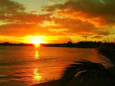 sunset at Port Allen, Kauai, aug 20, 2005