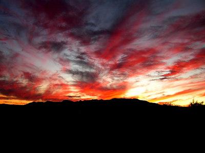sunset over the Whetstone Mts, near St David, AZ nov 25, 2006b