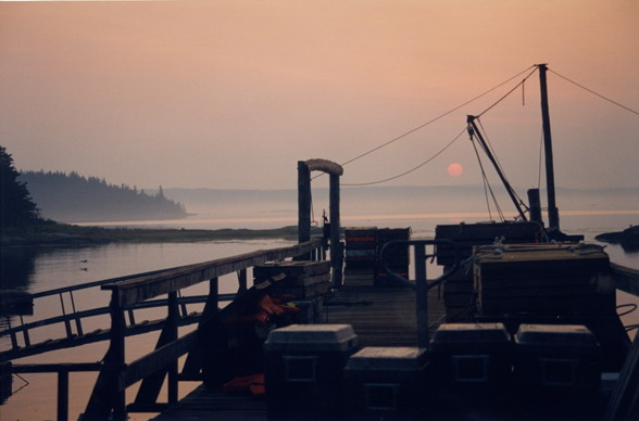 Sunrise on Eggamogin Reach, Cape Rosier, Maine ~ view from the Lobster Dock at the Hiram Blake Camp - 1998