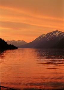 Kenai Lake, Alaska, sunset, july 1972