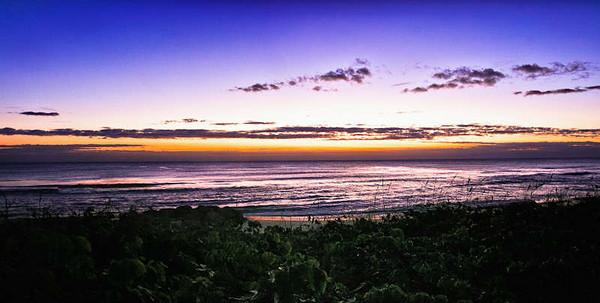 Panorama at the beginning of sunrise.