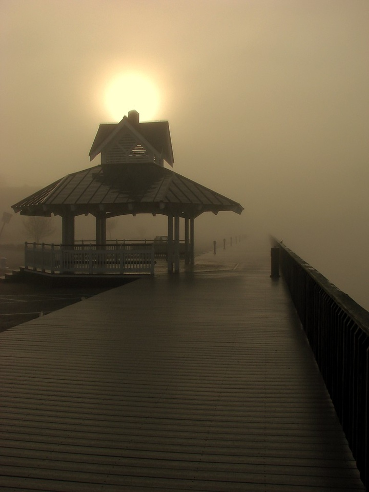 Rising Sun over the Foggy Boardwalk on Solomon's Island