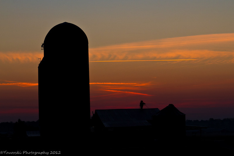 Silos at Morgan Dairy sunrise.