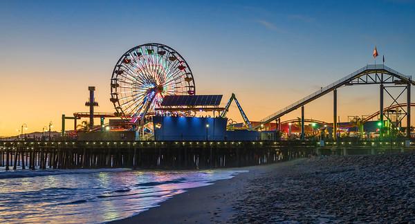 Santa Monica Ca pier Ferris Wheel Sunset and lights