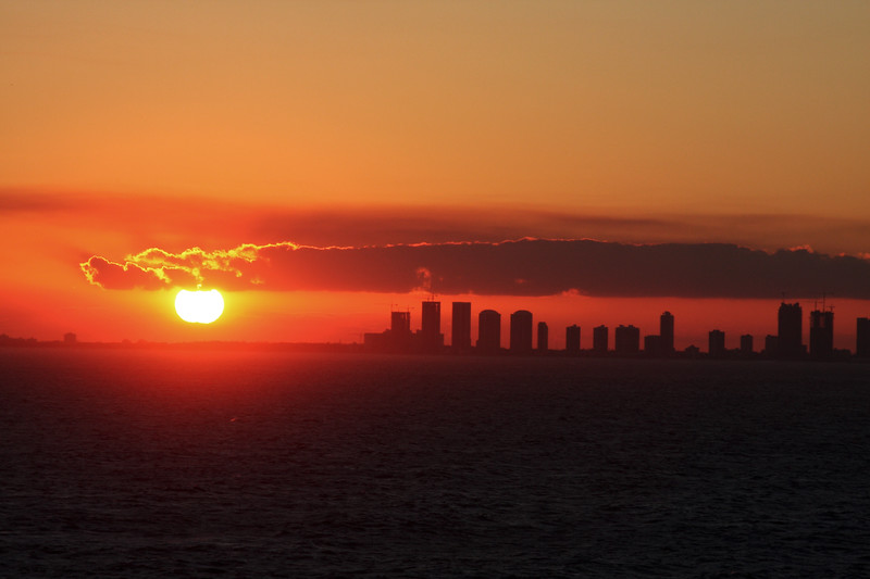 Florida Sunset of Ft. Lauderdale harbor.