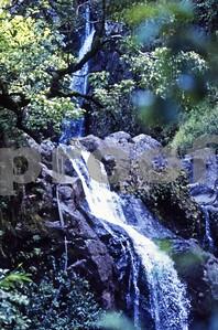 A waterfall off road, on the Road to Hana, Maui, circa 1979
