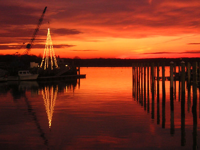 """Concordia, S Dartmouth MA  12-23-05. Our """"Christmas Tree"""" hangs from the riggng crane"""