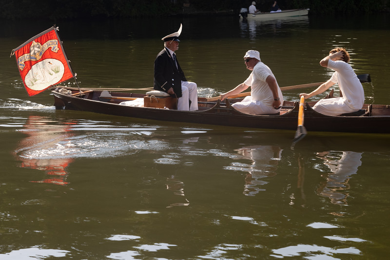 Annual Swan Upping census, river Thames, near Windsor, UK.
