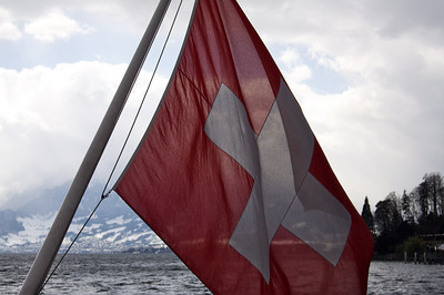 Swiss flag - Lake Lucerne